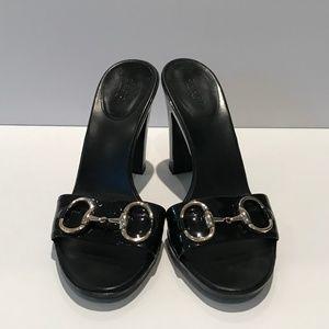 Gucci Women's Black Patent Leather Slide Sandals
